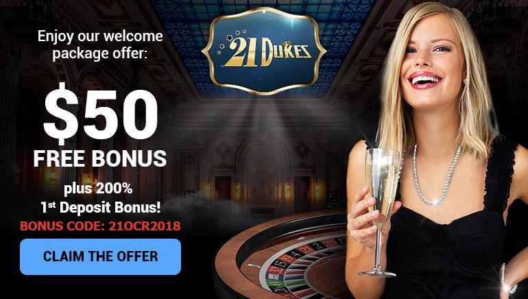 Una bienvenida digna de reyes: bono de 50 $ gratis en 21Dukes Casino