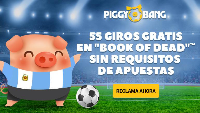 Piggy Bang Casino les brinda la bienvenida a los jugadores de Argentina con un bono de hasta 55 giros libres